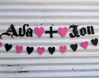 Custom Names Banner ∙ Wedding Decor ∙ Couples Wedding Shower ∙ Love Garland ∙ Gothic Letters ∙ Emo Banner Sign ∙ Old English Font