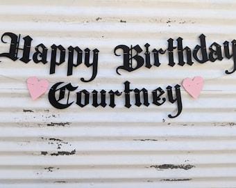 Happy Birthday + Custom Name Banner ∙ Gothic Letters ∙ Emo Banner ∙ Old English Birthday ∙ Emo Goth Birthday Banner ∙ Any Age Birthday