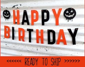 Happy Birthday HALLOWEEN Banner ∙ Happy Halloween Banner ∙ Jack-O-Lanterns ∙  Halloween Birthday Party ∙ Halloween Decor ∙ October Birthday