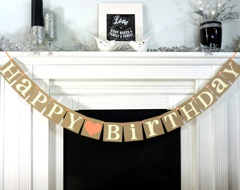 Happy Birthday Party Banner Rustic Sign Decor Photo Prop Office