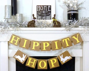 Happy Easter Banner / Hippity Hop Banner Decoration / Rustic Garland / Bunny Trail / Decoration Banner / Easter Photo Prop