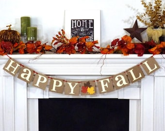 Fall Decorations Banner - Happy Fall Sign- Thanksgiving Decorations - Holiday Decorations - Thanksgiving Decor - Happy Fall