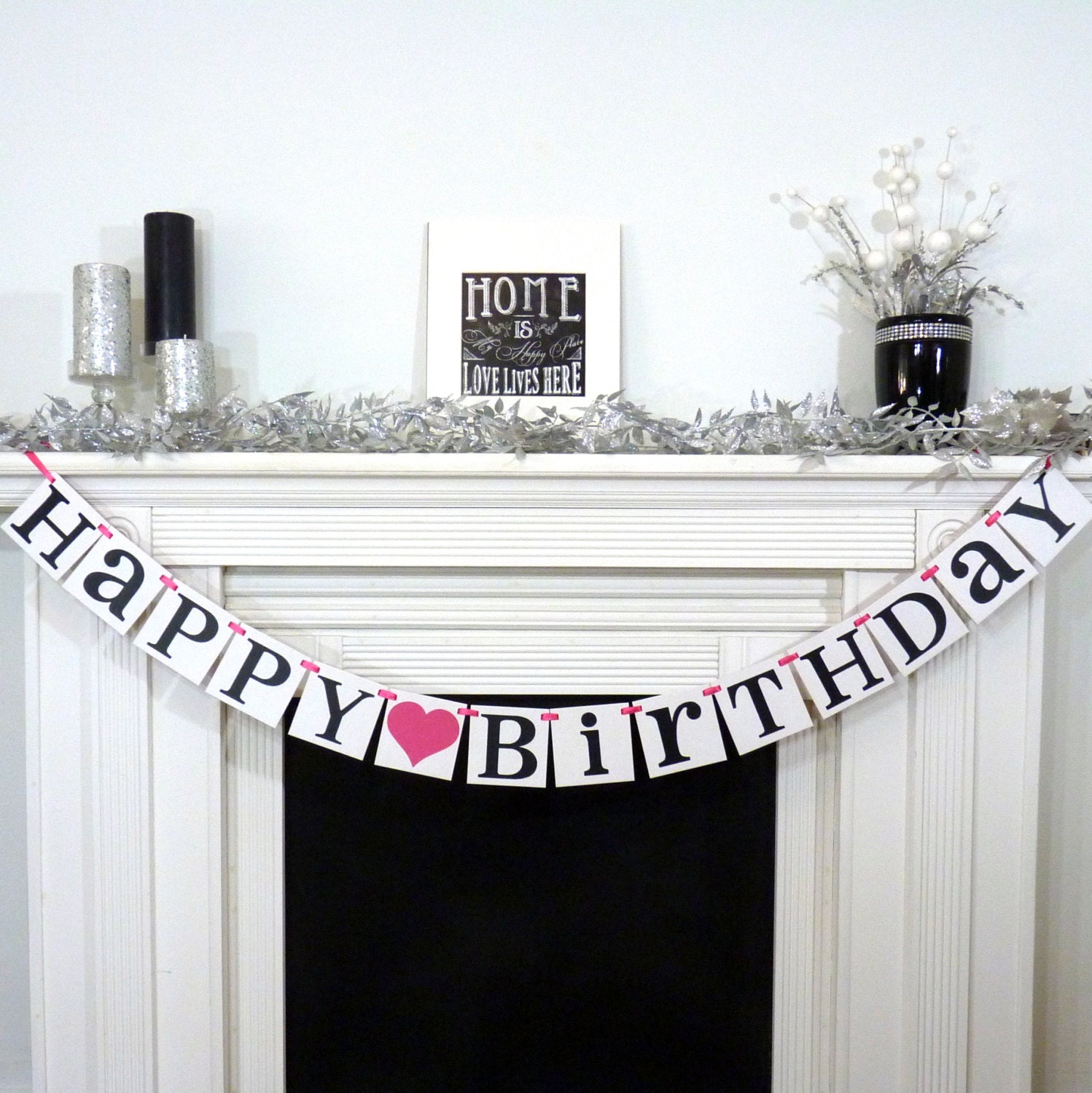 Happy Birthday / Birthday Party Banner / Rustic Sign