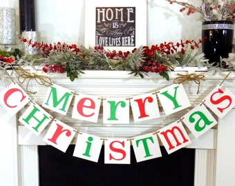 Christmas Banner-MERRY CHRISTMAS Banner-Christmas Holiday Dectorations- Christmas Card Photo Prop
