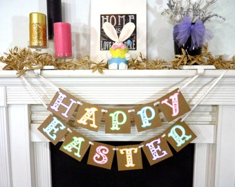 Happy Easter Decoration / Happy Easter Banner / Rustic Easter Banner / Easter Garland / Bunny Trail / Easter Photo Prop