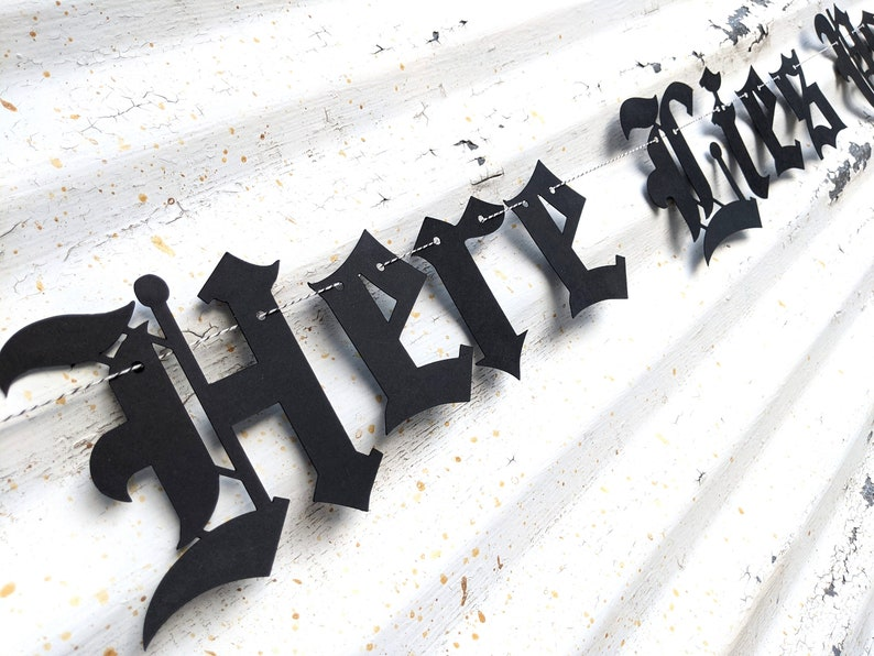 Here Lies Your Youth Banner  Gothic Letters  Emo Banner Sign image 0
