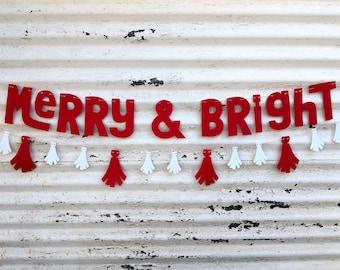 Christmas Banner ∙ Merry & Bright Banner ∙ Red Merry Christmas Banner ∙ X MAS Photo Prop ∙ Holiday Decor ∙ Christmas Decor ∙ Family Photos