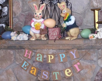 Happy Easter Decoration Banner Rustic Garland Bunny Trail Photo Prop
