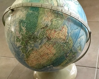 Vintage globes maps etsy vintage world globe vintage world map rand mcnally relief world globe cartography desk accessory atlas australian seller gumiabroncs Images