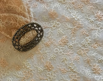 Wedding Lace Fabric - Floral Embroidered Lace Net - Vintage Ivory Lace - Designer Lace - Wedding Table Lace - Sold by the Metre