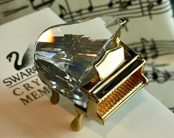 Vintage Swarovski Crystal and Gold Grand Piano - Australian Seller