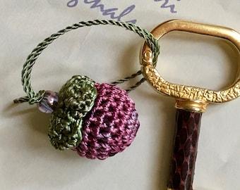 Crochet Berry - Forget Me Not -  Crochet Zipper Charm - Gift Accessory - Tassel Charm - FREE SHIPPING - Handmade
