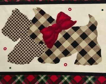PATCHWORK Panel - Scottie Dog - Vintage Patchwork Panel - Baby Quilt - FREE SHIPPING - Australian Seller
