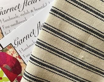TICKING FABRIC - Quilter's Fat Quarter - Vintage Cotton Mattress Ticking  -  Vintage Fabric - FREE Shipping - Australian Seller