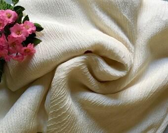IVORY Silk Dress Fabric - 2.4M Silk - FREE SHIPPING -  Vintage Fabric - Vintage Silk Fabric - Designer Silk - Australian Seller