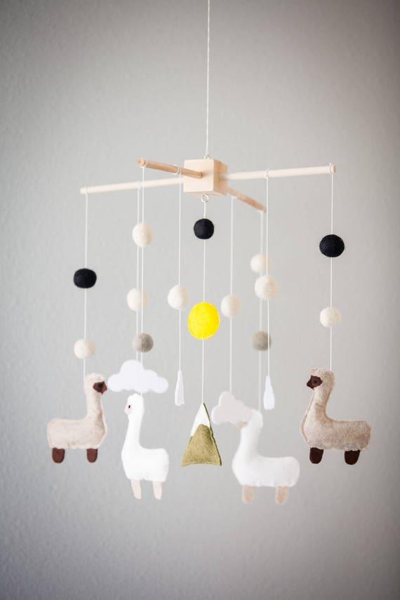 Llama Crib Mobile Nursery Baby Mobile Felt Alpaca Nursery Decor Mobile