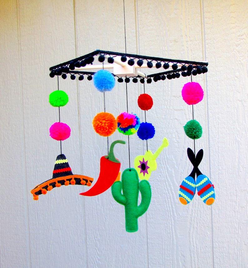 Mexican Style Crib Mobile Nursery, Pompon Baby Mobile Felt Wood, Nursery  Decor