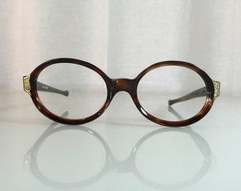7b8aff4b2b69 VINTAGE NOS Poriss Rita Decor Jeweled Round Tortoise 1950s Women s Frame  France Glasses Frames