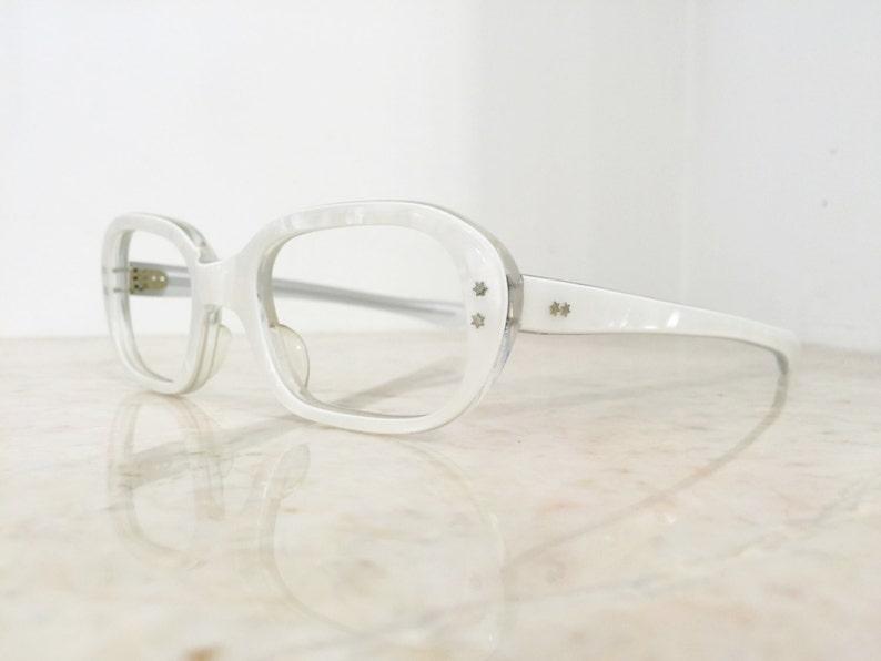 VINTAGE NOS Pearly White Star Detail Classic Ovular/Rectangular Women's 1960s Frame France Glasses Frames