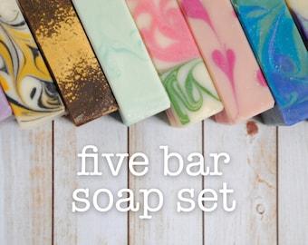 Soap Sampler - Soap Gift Set - Artisan Soap Set - Homemade Soap Gift Set - Soap Sampler Gift Set - Five Soap Bath Gift - Handmade Soap Set