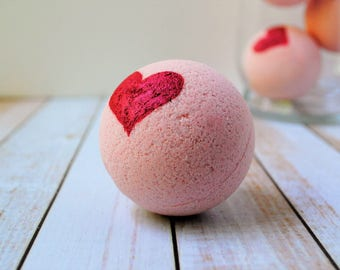 Pink Bath Bomb with Citrus and Berry Scent, and Handpainted  Red Heart