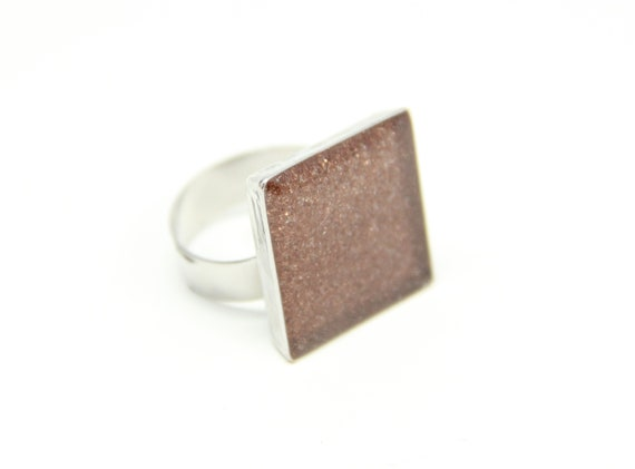 Resin Ring Brass Metal Shavings in Resin Rectangular Ring Silver Plated Adjustable Band Handcrafted Artisan Designed MAE jewelry