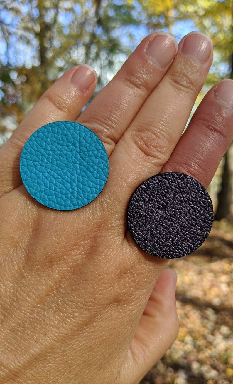 Colorful US Size 5-10 | Disc 30mm Recycled Faux Leather Statement Polyurethane Ring Sterling Plate Adjustable Ring Band