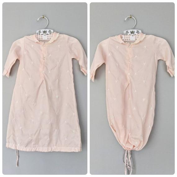 Vintage Baby Sleeper, Sleeper Dress, Pink Sleeper,