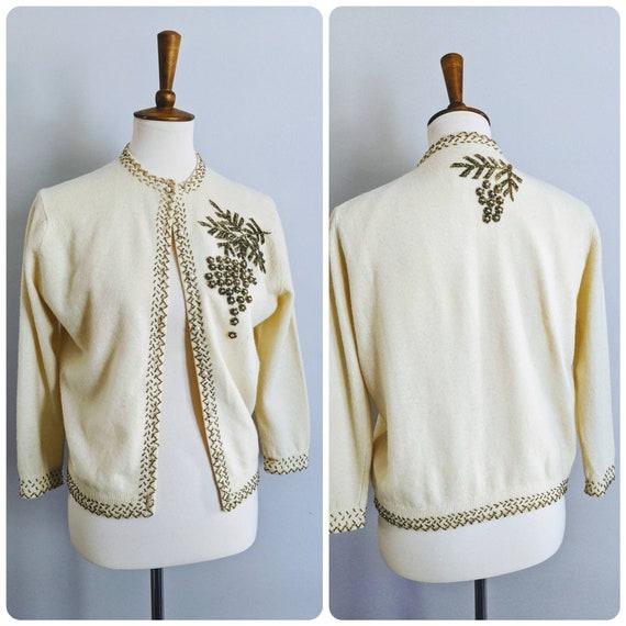 Knit Cardigan Ivory Cardigan Vintage Cardigan Beaded Sweater Vintage Yellow Cardigan Beaded Cardigan 50s Cardigan Holiday Sweater S