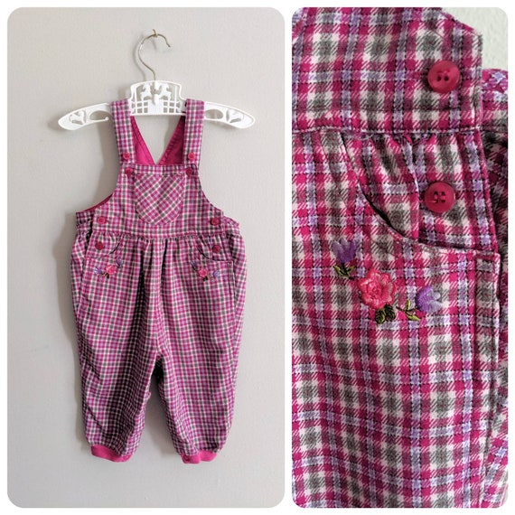 Plaid Overalls, 6-9 months, Pink Overalls, Baby Ov