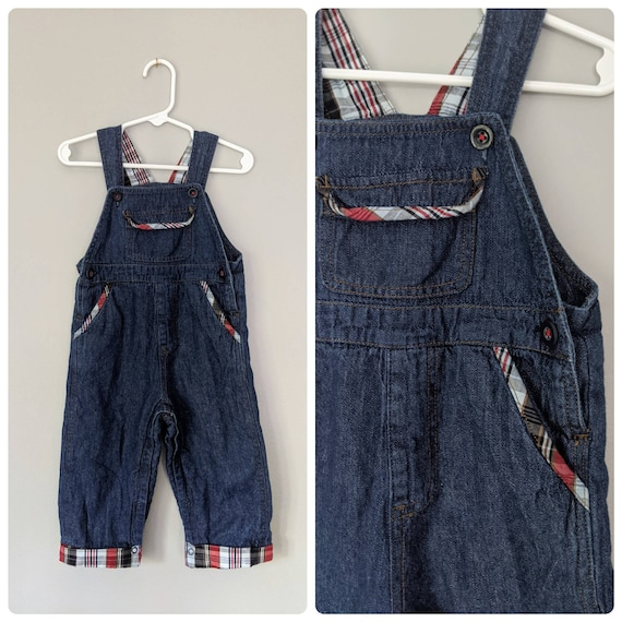Vintage Overalls, 12m, plaid Overalls, Unisex Over