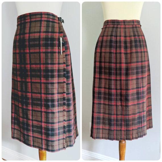 Vintage Plaid Skirt, Pleated Skirt, Plaid Pleated