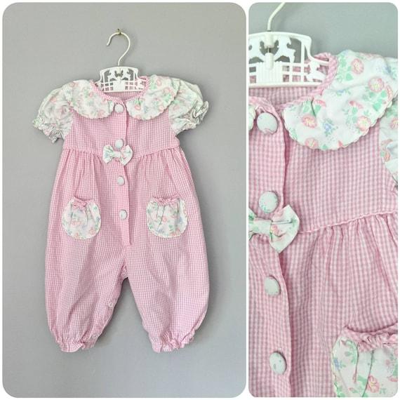 Vintage Baby Romper, Floral Romper, Bubble Romper,