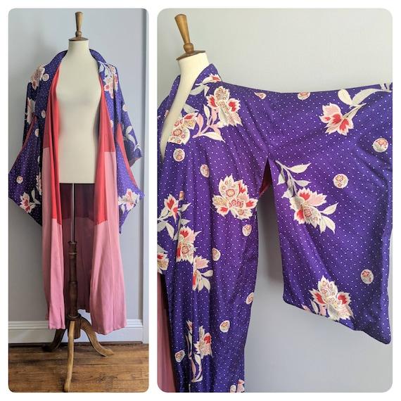Japanese Silk Kimono, Silk Robe, Vintage Japanese