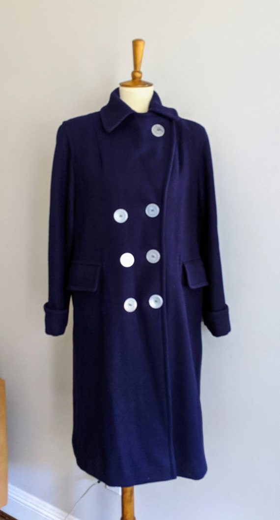 Vintage Dress Coat, XL, Ladies Wool Coat, Red Lin… - image 6