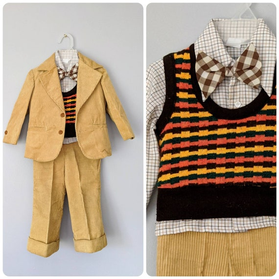 Vintage Boys Suit, 18-24 months, Christmas Outfit… - image 1
