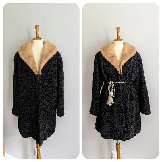 Vintage Womens Coat, Fur Coat, Fur Collar, Vintage