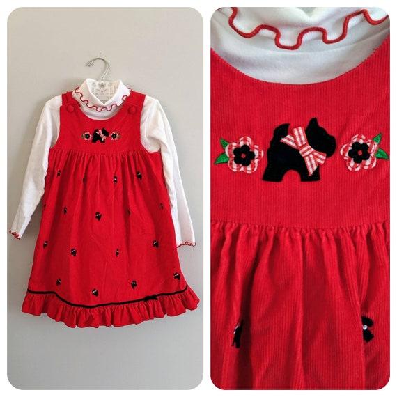 Vintage Girls Dress, Scottie Dog, Corduroy Dress,