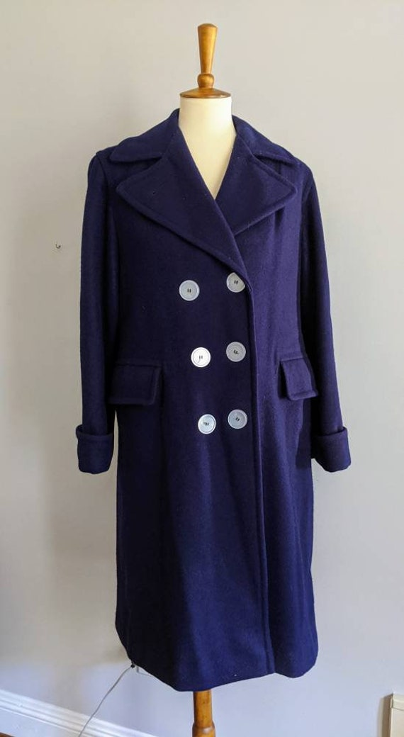 Vintage Dress Coat, XL, Ladies Wool Coat, Red Lin… - image 4