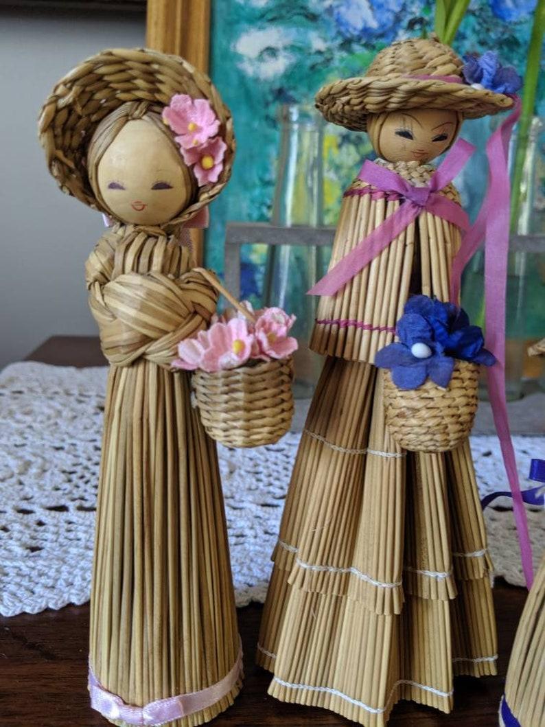 Vintage Dolls Vintage Korean Dolls Bookshelf Accessory Corn Husk Dolls Asian Dolls Home Decor Handmade Dolls Wood Dolls Korean