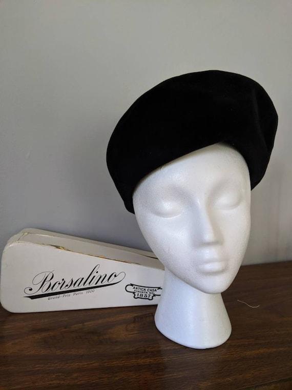 Vintage Beret, Borsalino, Black Beret, Beret Hat,
