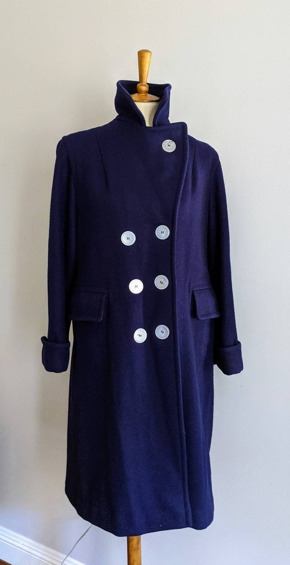 Vintage Dress Coat, XL, Ladies Wool Coat, Red Lin… - image 3