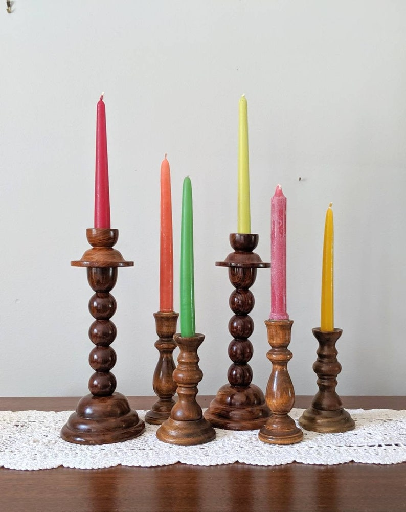 Vintage Wooden Candle Holders Home Design