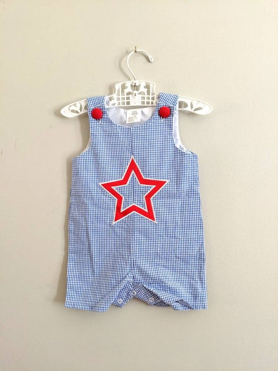 Gingham Romper, 6-12 months, Gingham Overalls, One