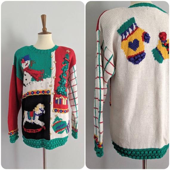 Vintage Christmas Sweater, Christmas Cardigan, Vin