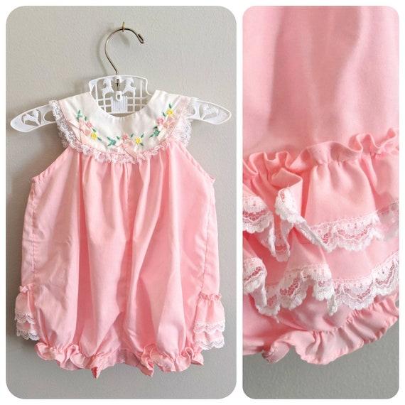 Vintage Baby Romper, Romper, Bubble Romper, Pink R