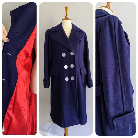 Vintage Dress Coat, XL, Ladies Wool Coat, Red Lini