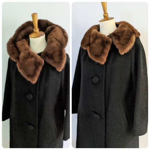 Vintage Wool and Fur Jacket, Vintage Jacket, Fur J