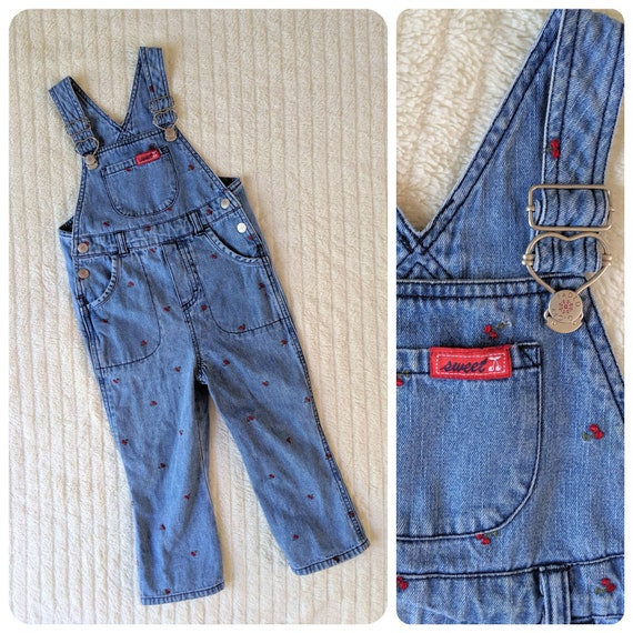 Cherry Overalls, 3T, Denim Overalls, Vintage Overa