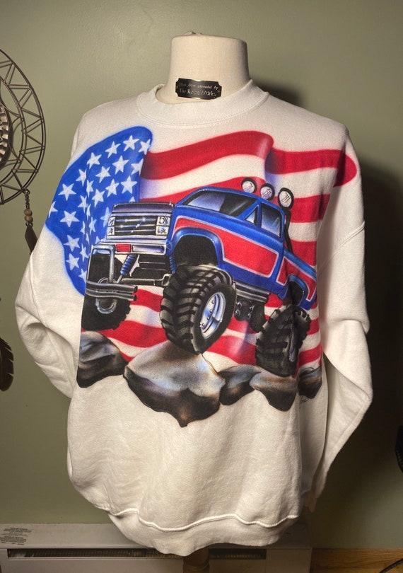 Vintage Airbrush Monster Truck Pullover Sweatshirt